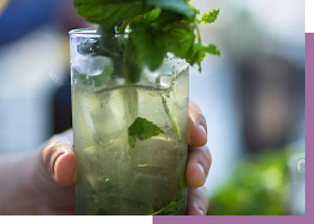 Lavender mojito cocktail with mint leaves in a tumbler glass