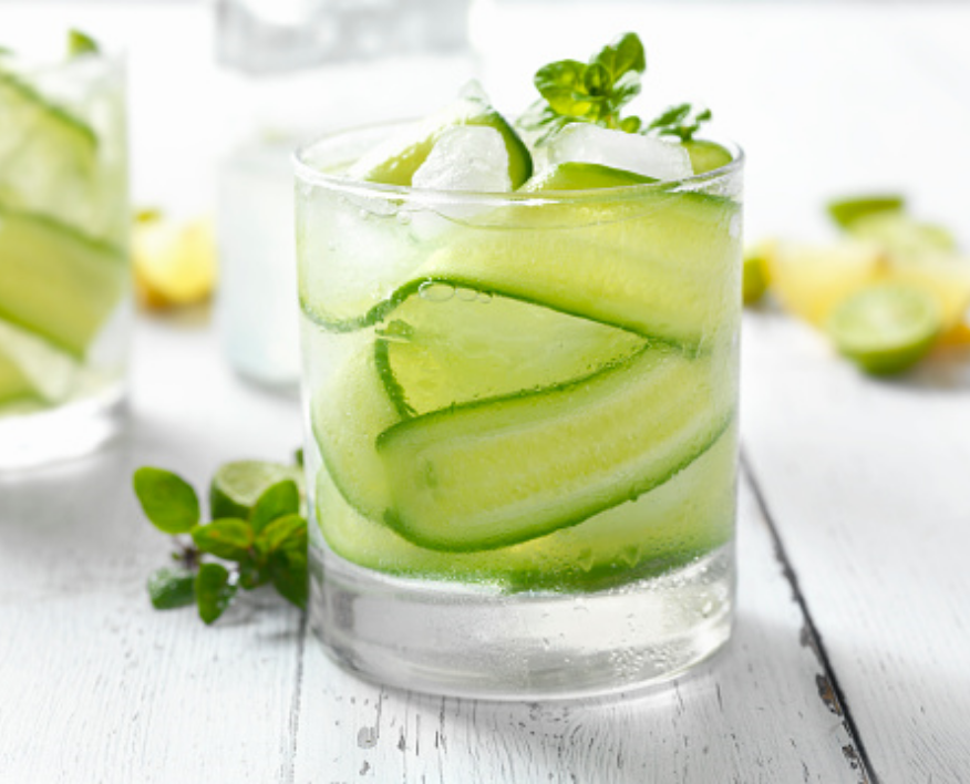 Non-alcoholic cocktail short glass with fresh cucumber