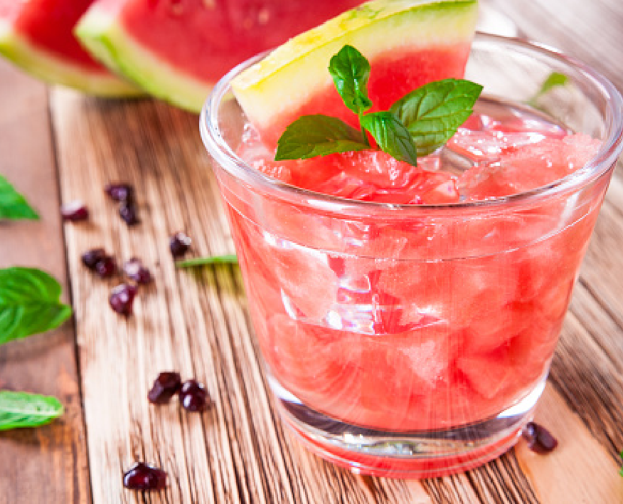 Pink Watermelon non-alcoholic cocktail in a short glass